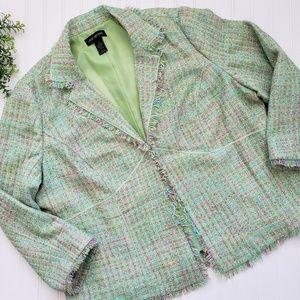 Lane Bryant Bright Green Tweed Plaid Blazer sz 24